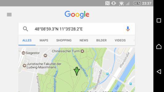 Aus der Scanner-App sucht ihr direkt in Google nach den Koordinaten